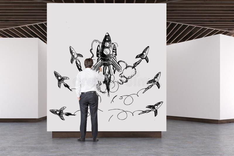 Konkreter Boden der Kunstgalerie, hölzerne Decke, Rakete stock abbildung
