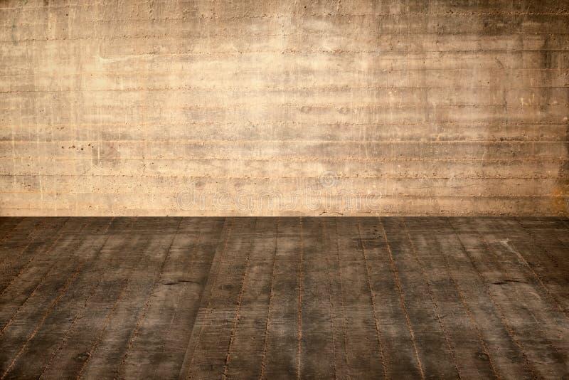 Konkreter Boden und Wand der Illustration im alten Innenraum lizenzfreies stockfoto