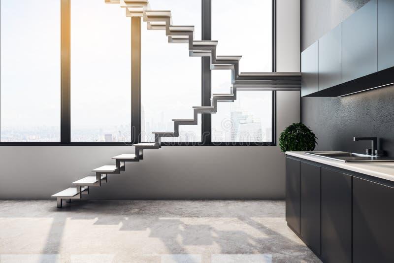 Konkreter Dachbodenkücheninnenraum stock abbildung
