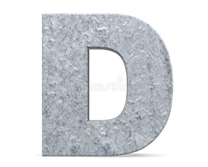 Konkreter Großbuchstabe - D lokalisiert auf weißem Hintergrund 3d übertragen Abbildung lizenzfreie abbildung