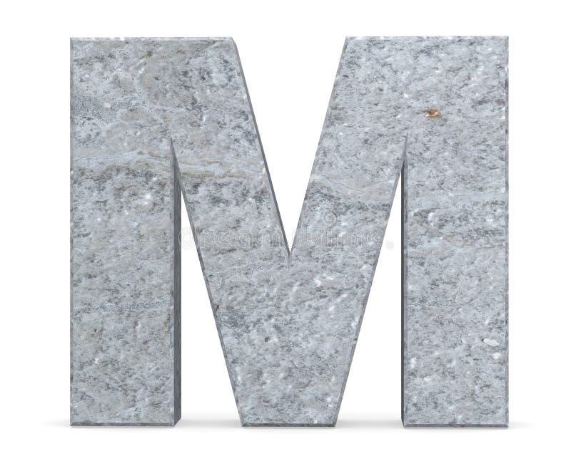 Konkreter Großbuchstabe - M lokalisiert auf weißem Hintergrund 3d übertragen Abbildung lizenzfreie abbildung