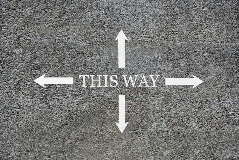 Konkreter Grundriss von oben, Wörter Pfeile dieser Weise vier, welche die Richtungen mit Kopienraum für Ihren Text anzeigen lizenzfreies stockfoto