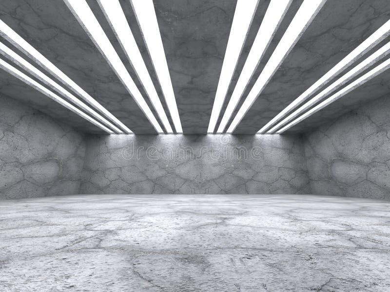 Konkreter leerer Rauminnenraum Abstrakter Hintergrund der Architektur stock abbildung