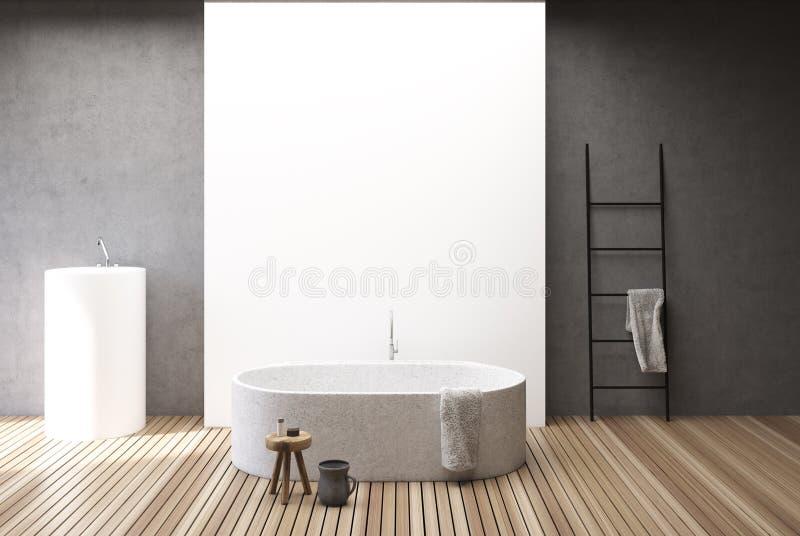 Konkreter und weißer Badezimmerinnenraum, Wanne und Wanne stock abbildung