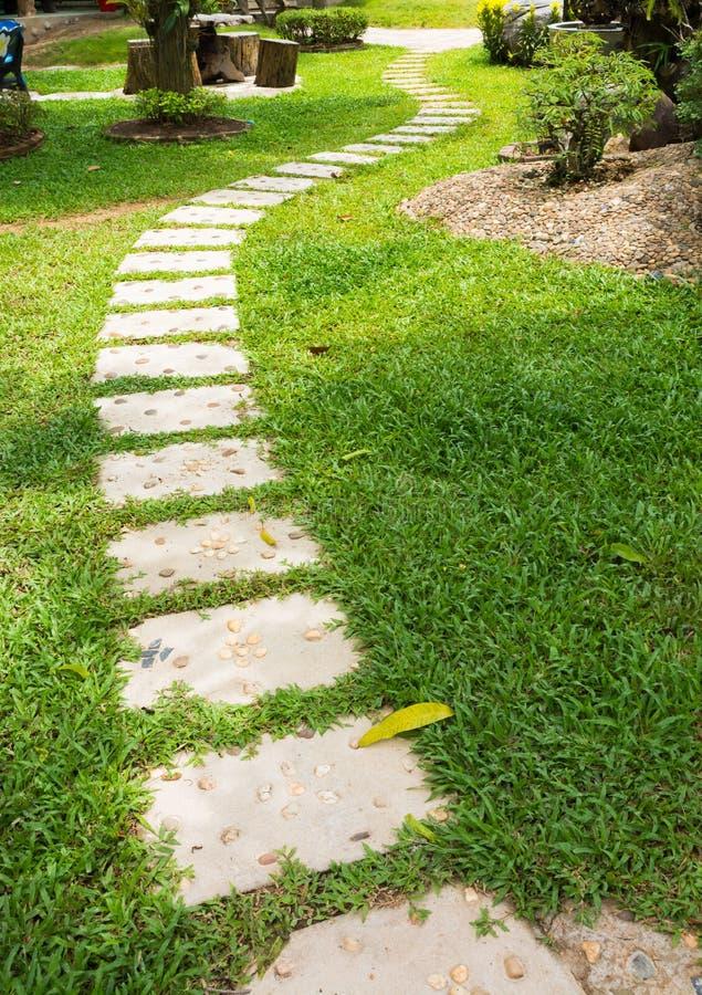 Konkreter Weg auf grünem Gras lizenzfreie stockbilder