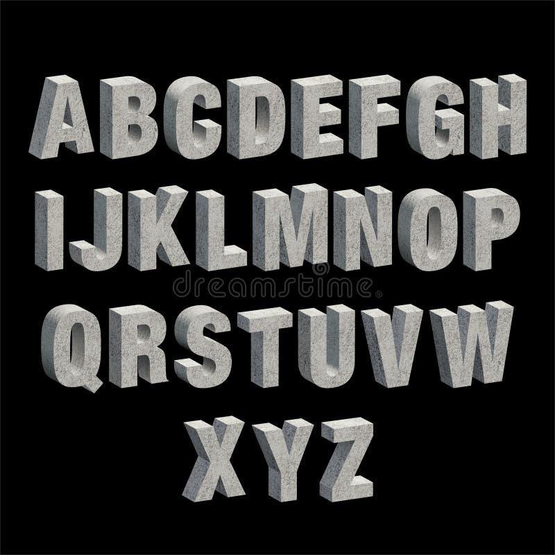 Konkretes Alphabet Alle Großbuchstaben lizenzfreie abbildung