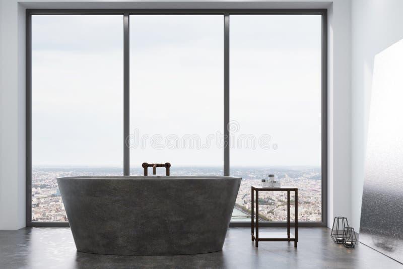 Konkretes Badezimmer, graue Wanne und Fenster stock abbildung