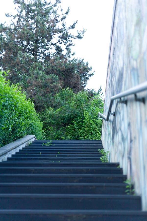 Konkretes Treppenhaus der Unterführung mit Metallhandläufen und MUR lizenzfreies stockfoto
