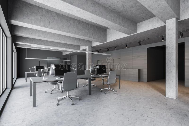 Konkretes und graues hölzernes industrielles Artbüro lizenzfreie abbildung