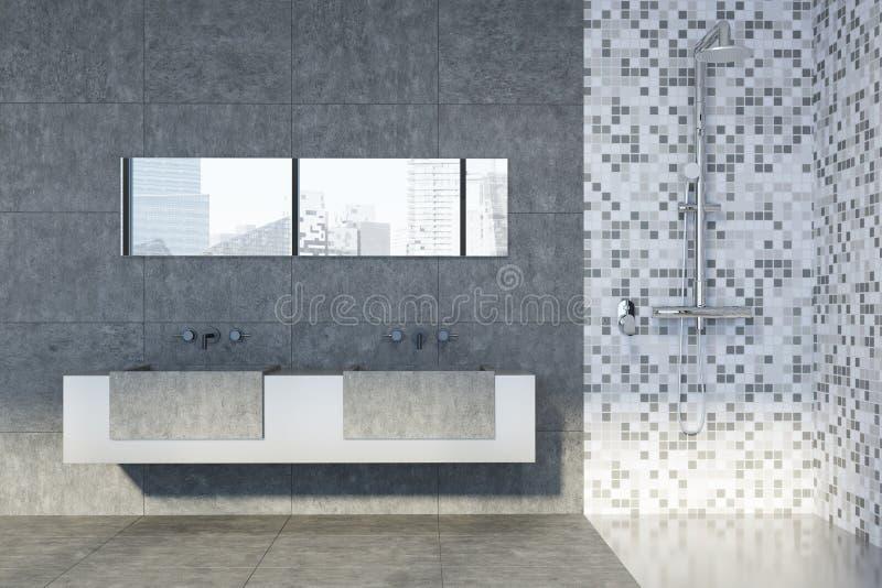 Konkretes und mit Ziegeln gedecktes Badezimmer, Abschluss der doppelten Wanne oben lizenzfreie abbildung