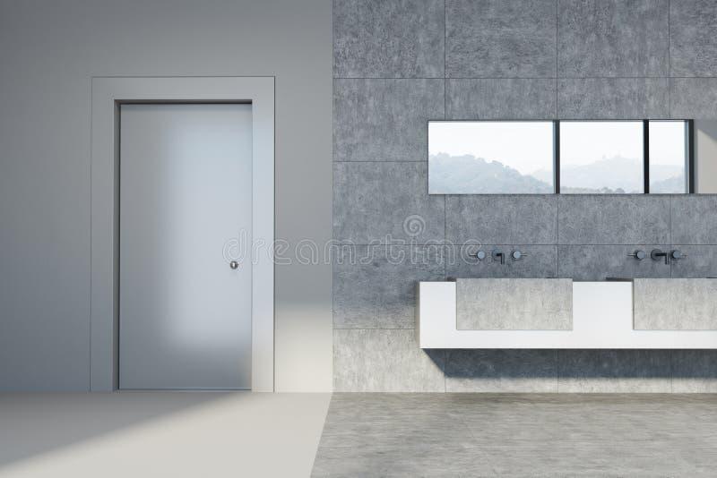 Konkretes und mit Ziegeln gedecktes Badezimmer, doppelte Wanne, Tür stock abbildung