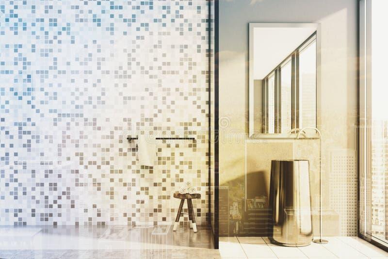 Konkretes und mit Ziegeln gedecktes Badezimmer, Wanne und Dusche getont stock abbildung