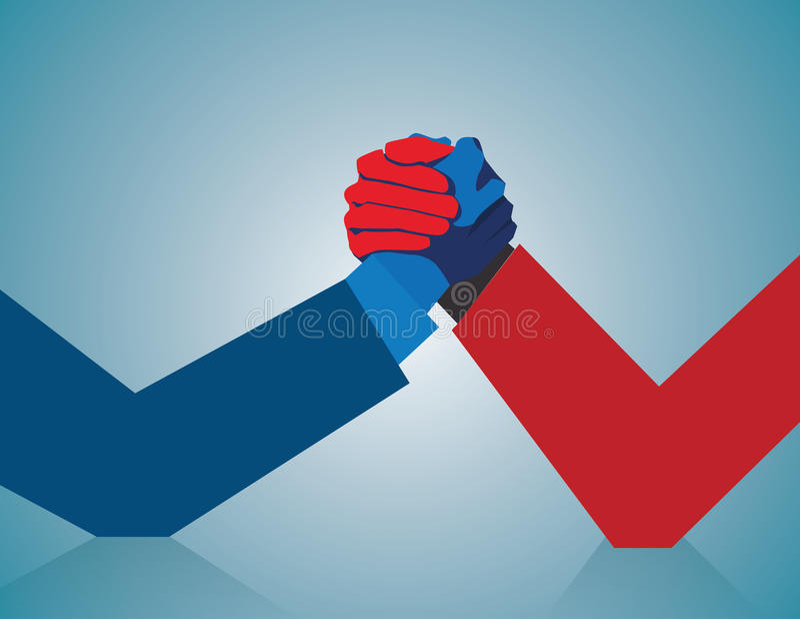 Konkurencyjny biznes Dwa biznesmenów ręki zapaśnictwo ilustracji