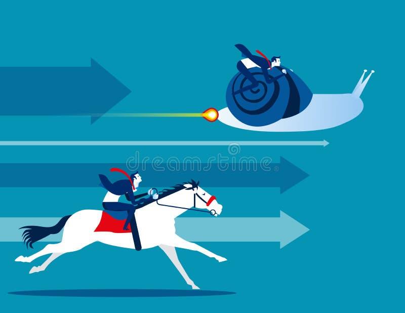 konkurrens Affärslag och konkurrenskraftigt Illustration f?r begreppsaff?rsvektor Plan tecknad filmcharactorstyledesign, djur, royaltyfri illustrationer