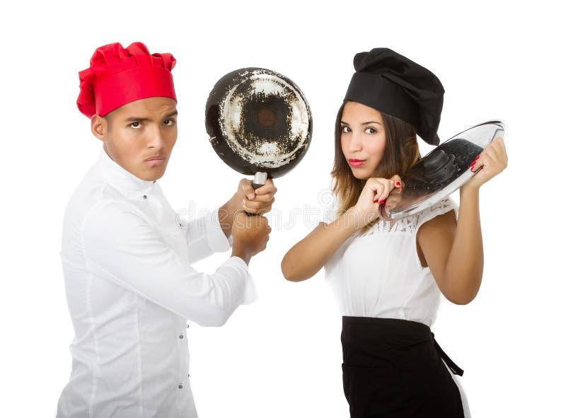 Konkurrens för ledar- kock fotografering för bildbyråer