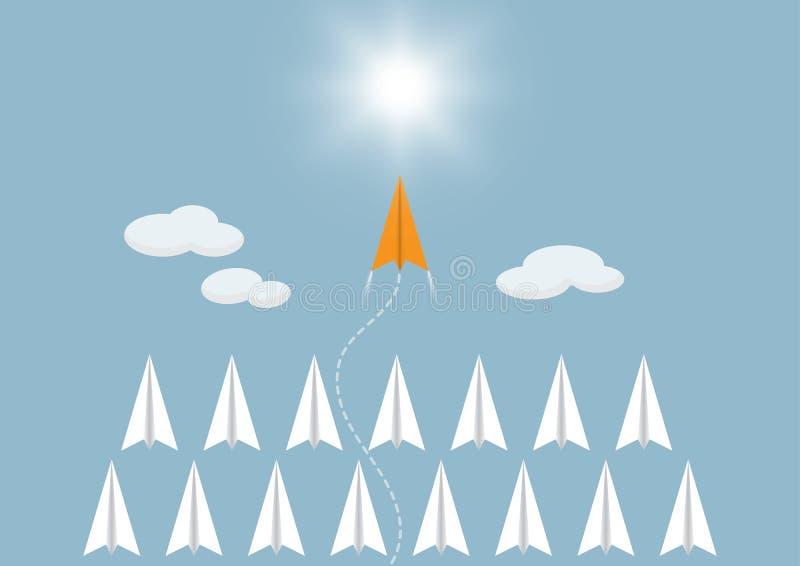 Konkurrens för pappers- flygplan med det orange flygplanet framåt, begrepp för mål för affärskonkurrensledarskap ambitiöst lyckat vektor illustrationer