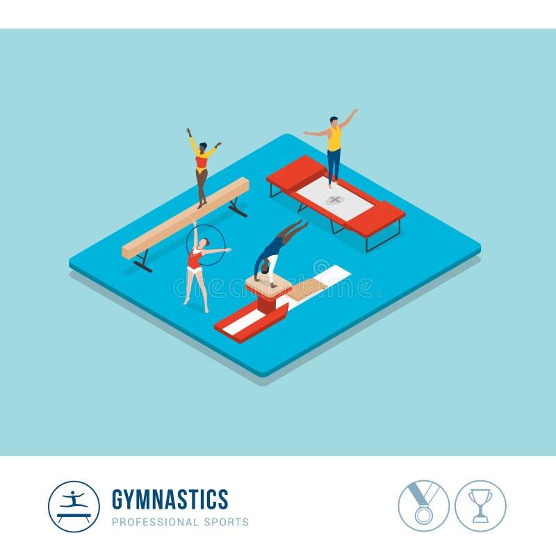 Konkurrens för yrkesmässiga sportar: gymnastik stock illustrationer