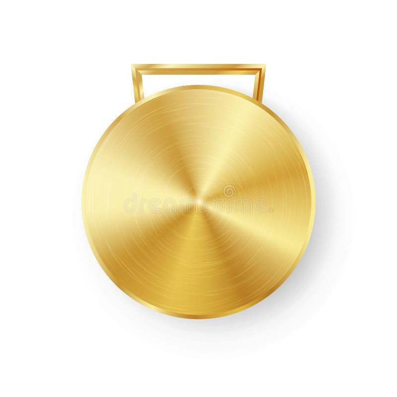 Konkurrens spelar den guld- medaljmallvektorn Geometriskt emblem för realistisk cirkel Teknologi perforerad metalltextur Guld spo royaltyfri illustrationer