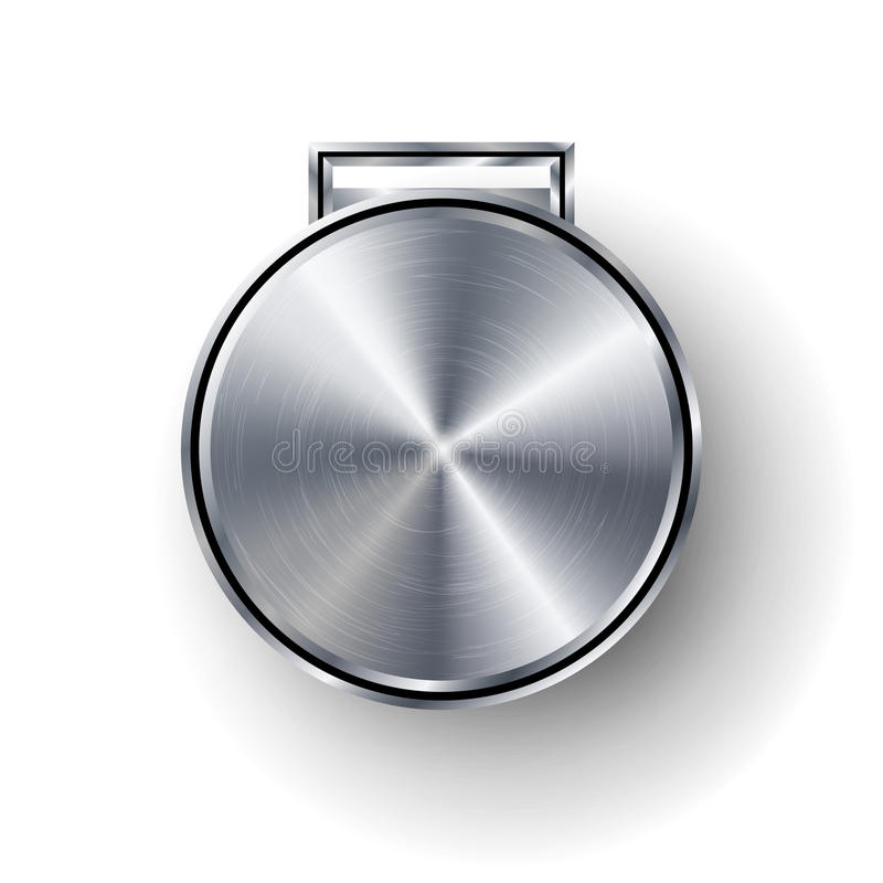 Konkurrens spelar silvermedaljmallvektorn Geometriskt emblem för realistisk cirkel Teknologi perforerad metalltextur Chrome Ste stock illustrationer