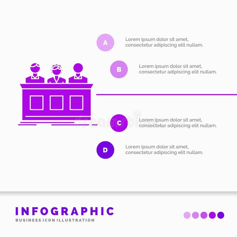 konkurrens, strid, expert, domare, juryInfographics mall för Website och presentation Infographic stil f?r sk?ralilasymbol stock illustrationer