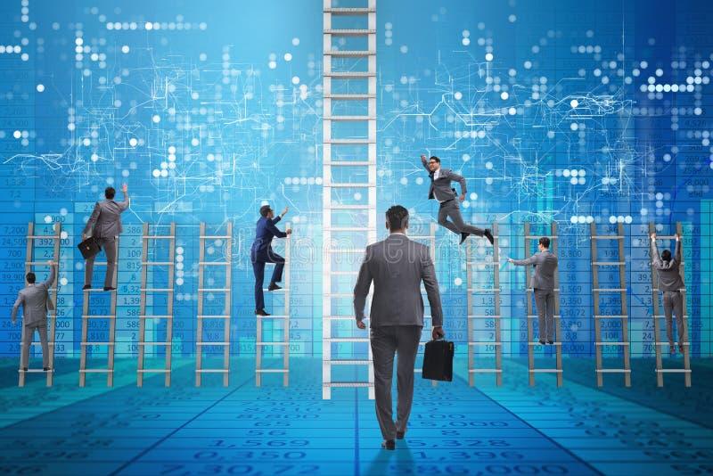 Konkurrensbegreppet med affärsmanstrykkonkurrenter arkivfoto