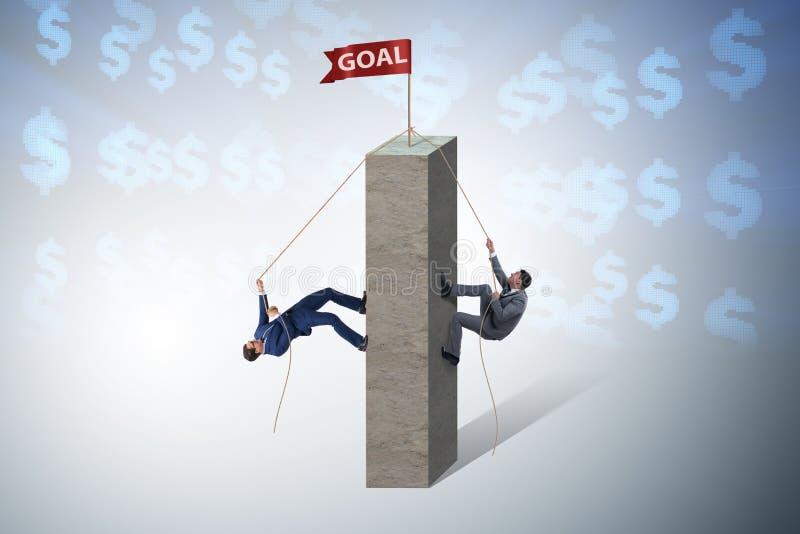 Konkurrensbegreppet med två affärsmän som klättrar tornet stock illustrationer