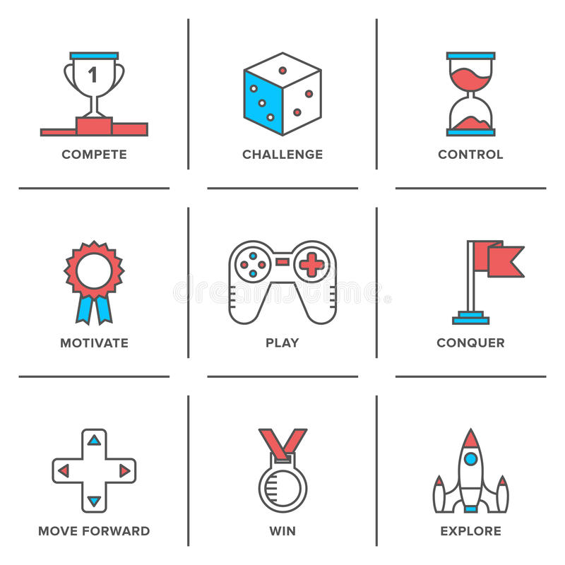 Konkurrensfördellinje symbolsuppsättning stock illustrationer