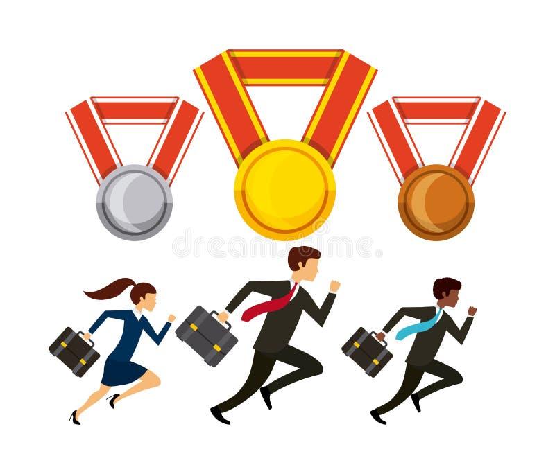 konkurrenskraftig affärsdesign royaltyfri illustrationer