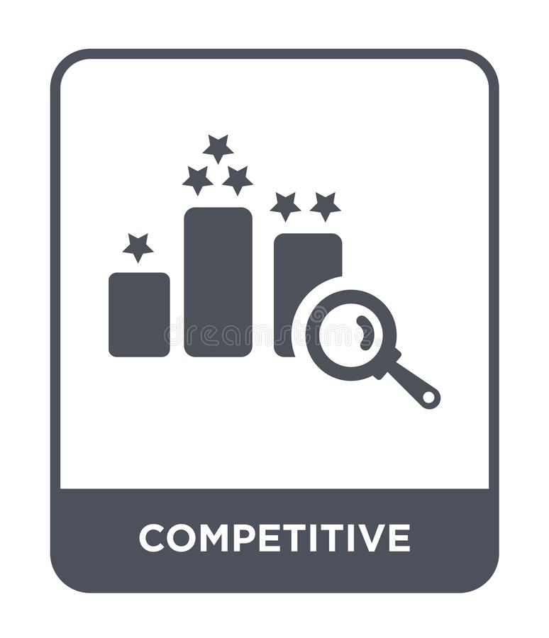 konkurrenskraftig symbol i moderiktig designstil konkurrenskraftig symbol som isoleras på vit bakgrund konkurrenskraftig modern v royaltyfri illustrationer
