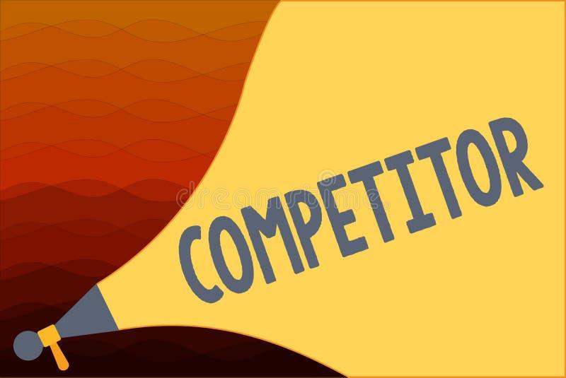 Konkurrent för textteckenvisning Begreppsmässig fotoperson som tar delen i kommersiell konkurrens för sportslig strid royaltyfri illustrationer