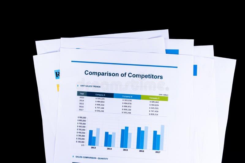 Konkurrenten-Vergleichs-Analyse und Marktforschung bedecken documen lizenzfreies stockbild