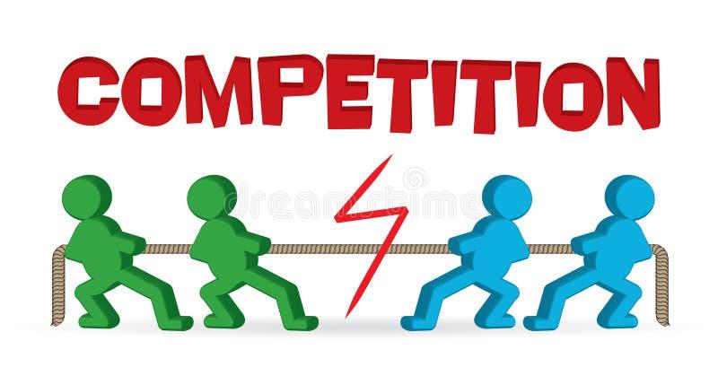 Konkurrenz - Tauziehen - Zugseil der Leute vektor abbildung