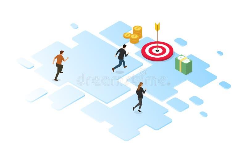 Konkurs dla firm na osiągnięcie celów finansowych przy użyciu stylu projektowania izometrycznego ilustracja wektor
