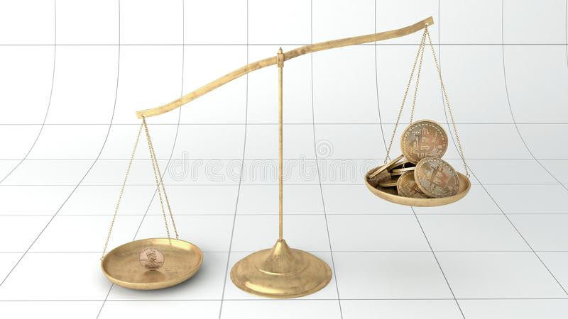 Konkurs för valutaskalabitcoin vektor illustrationer