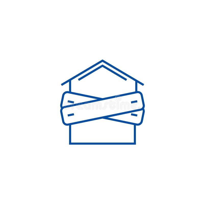 Konkurs som stigas ombord upp huslinjen symbolsbegrepp Konkurs som stigas ombord upp plant vektorsymbol för hus, tecken, översikt stock illustrationer