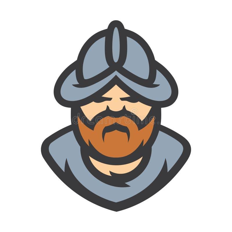 Konkwistadora pogromcy wojownika wektoru średniowieczny znak royalty ilustracja