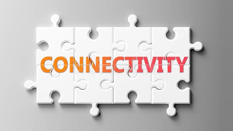 Konnektivität komplex wie ein Rätsel - abgebildet als Wort Konnektivität auf einem Puzzle Stücke zu zeigen, dass Konnektivität sc vektor abbildung