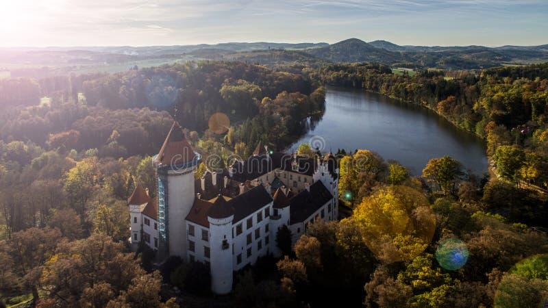 KonopiÅ ¡ tÄ› -城堡空中寄生虫地平线视图  库存图片