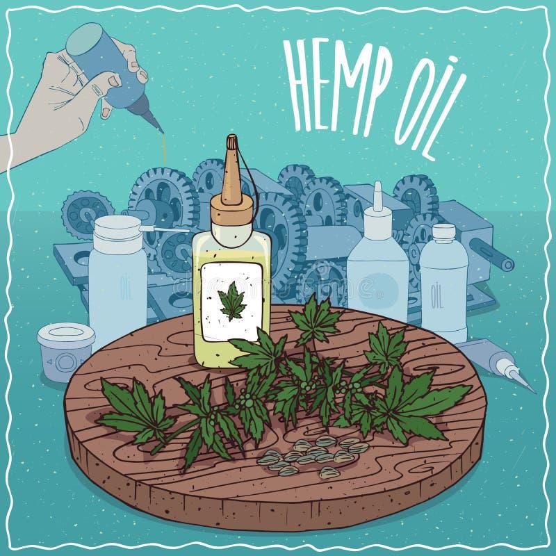 Konopiany nasieniodajny olej używać jako tłuszcza lubricant ilustracji