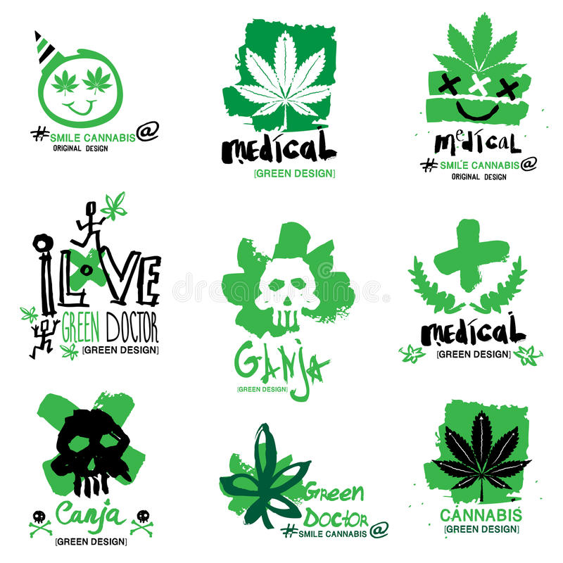 Konopie i marihuany ilustracja, logo ilustracja wektor
