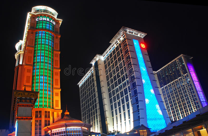 Konrad und Sheraton Hotels in Macau stockfotos