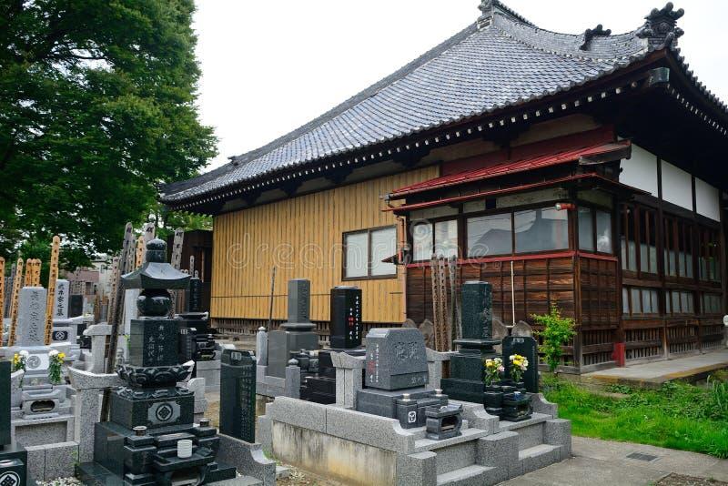 Konren-in Buddhist temple, Tokyo, Japan. Cemetery in the Konren-in Buddhist temple in Tokyo, Japan stock photo