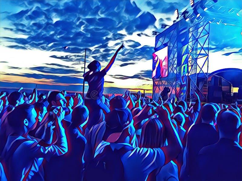 Konsert för populär musik med fanfolkmassan framme av platsen Lyckligt folk som dansar bild royaltyfri illustrationer