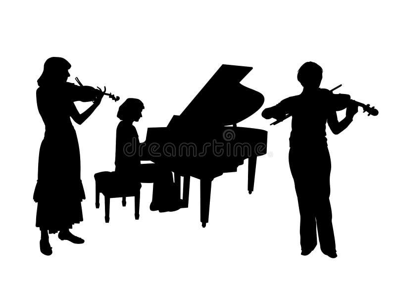 Konsert för två fioler och piano royaltyfri illustrationer