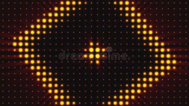 Konsertbeståndsdelar Panel med den LEDDE kulan Abstrakt bakgrund med animering av zoomcirklar i ledd skärm färgrikt royaltyfri illustrationer
