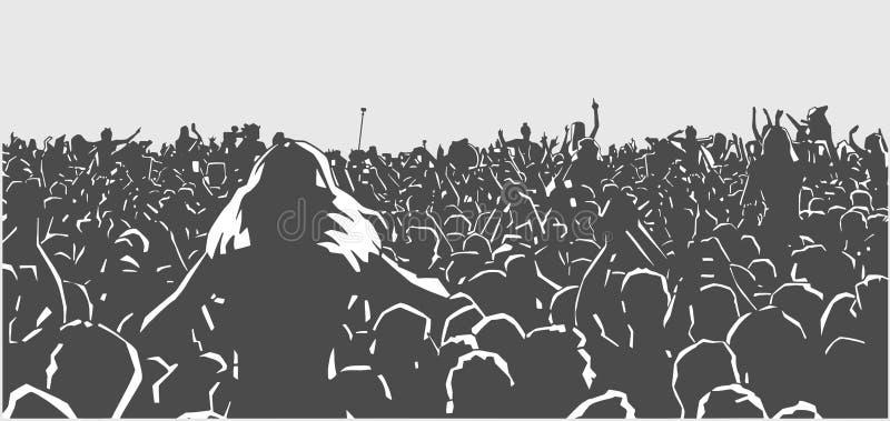Konserten festivalen, folket som är lyckligt, musik, folkmassan, studenten, sommar, ferie som är levande, festar, dansar och att  royaltyfri illustrationer