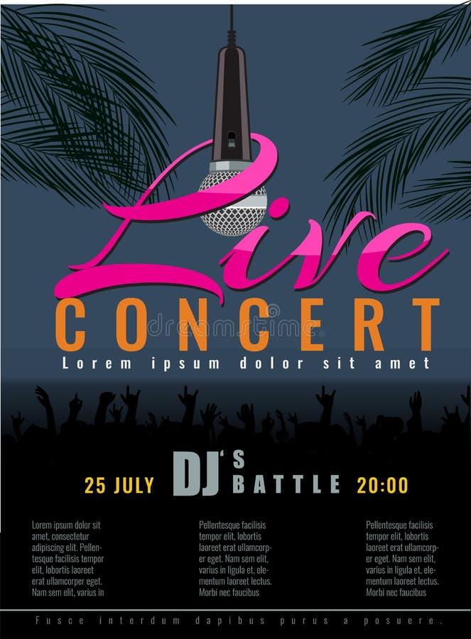 Konserten och discjockeyn för sommarstrand festar den levande reklambladet eller affischen stock illustrationer
