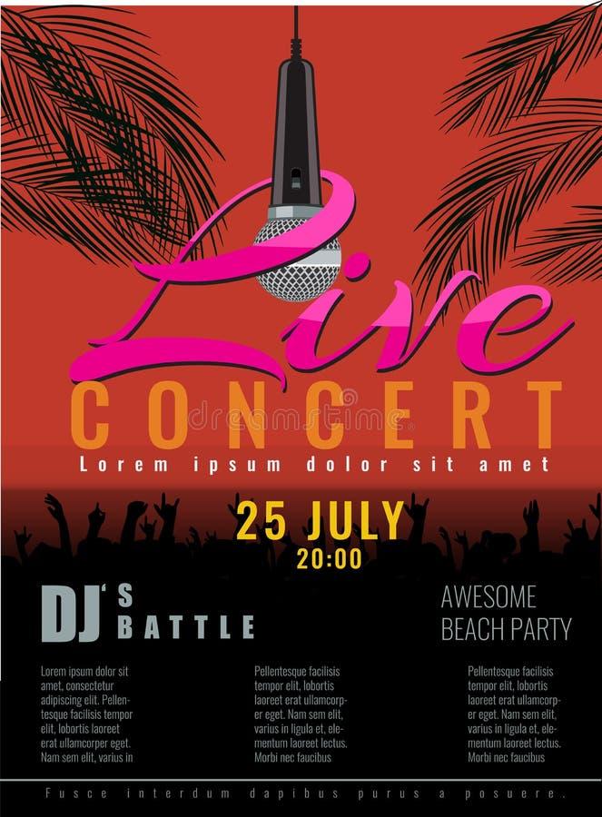 Konserten och discjockeyn för sommarstrand festar den levande reklambladet eller affischen vektor illustrationer