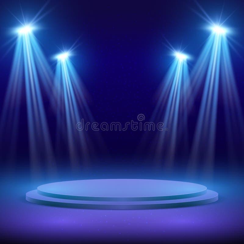Konsertetapp med fläckljusbelysning Visa kapacitetsvektorbakgrund royaltyfri illustrationer