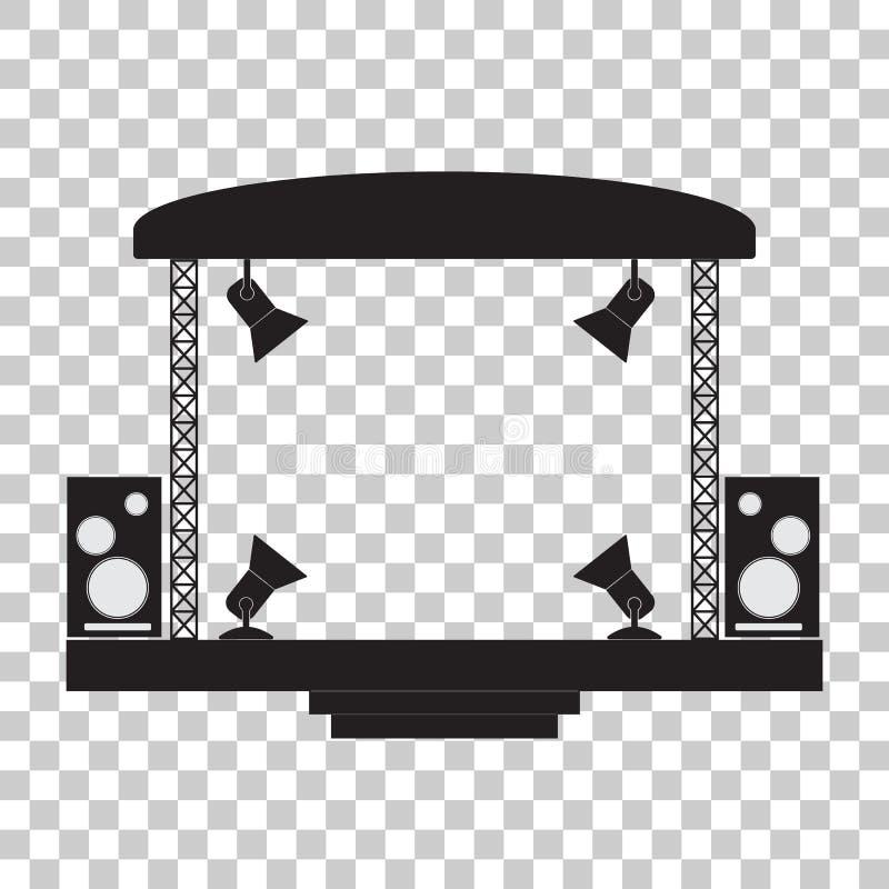 Konsertetapp och musikalutrustning genomskinlig bakgrund stock illustrationer